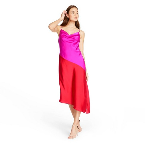 Women's Two-Tone Slip Dress - CUSHNIE for Target (Regular & Plus) Magenta Pink/Red - image 1 of 4