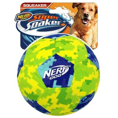 "NERF Air Tuff Camo Squeak Soccer Ball Dog Toy - Blue/Green - 5"""