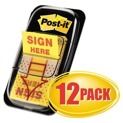 "Post-it Flags in Dispenser, ""Sign Here"" - Yellow (12 50-Flags Per Pack)"