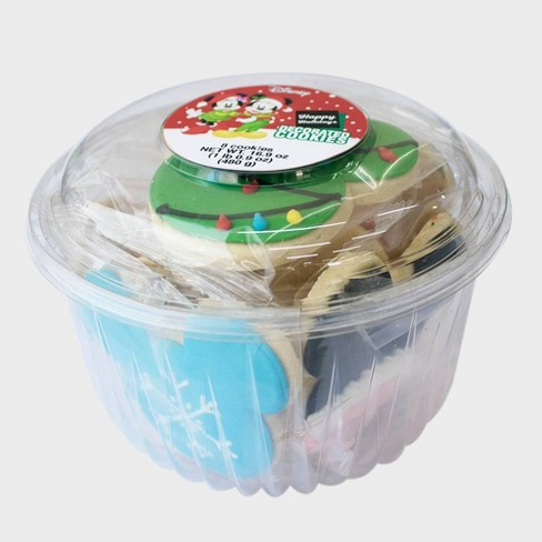 Disney Mickey Mouse & Friends Happy Holidays Decorated Cookie Tub - 8ct - image 1 of 3