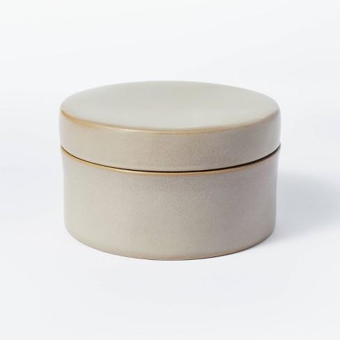 "7"" x 7"" Round Carved Ceramic Box Gray - Threshold™ designed with Studio McGee - image 1 of 4"