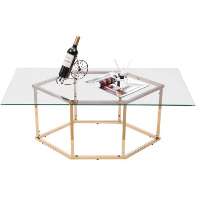 Bold Tones Rectangular Glass Top Hexagon Gold Stainless Steel Metal Base Coffee Table