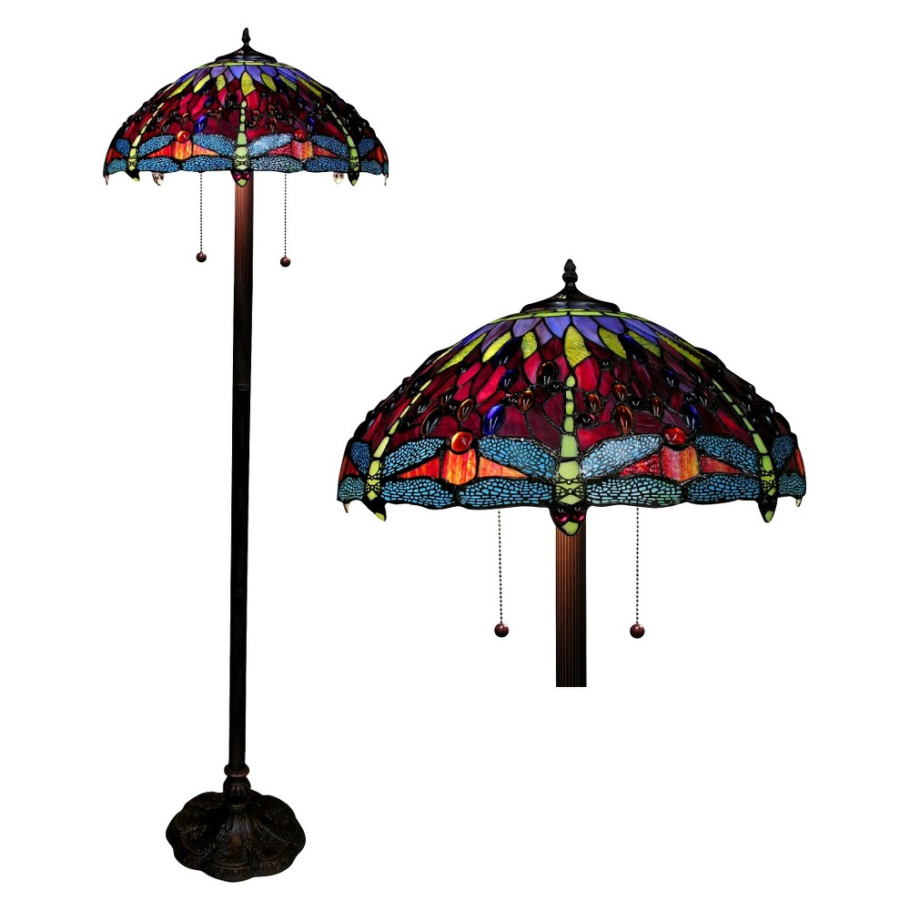 Image of Tiffany Style Dragonfly Floor Lamp - Amber, Amber Yellow