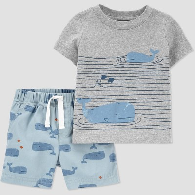 Baby Boys' Whales Top & Bottom Set - Just One You® made by carter's Blue Newborn