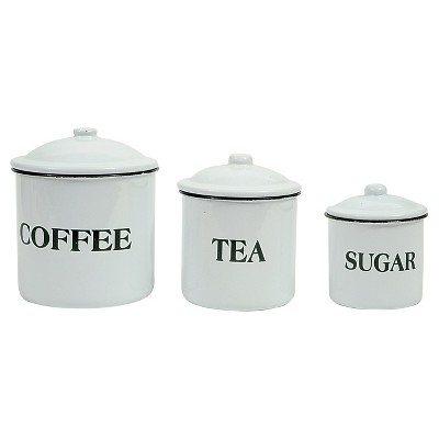 "3R Studios ""Coffee Tea Sugar"" Metal Containers w/Lid - Set of 3"