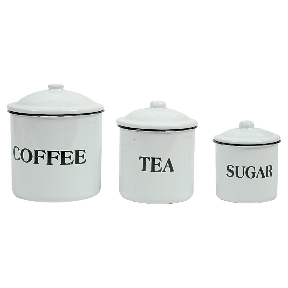 3R Studios Coffee Tea Sugar Metal Containers w/Lid - Set of 3, White