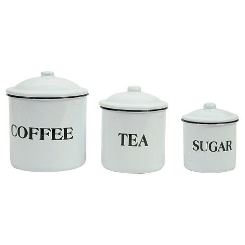 "3R Studios ""Coffee Tea Sugar"" Metal Containers w/Lid - Set of 3 - image 1 of 4"