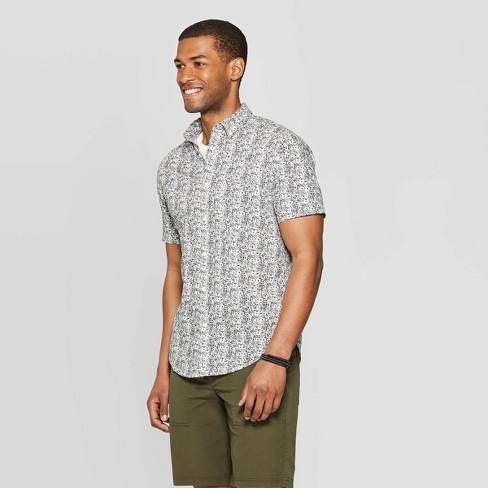 8c298132 Men's Floral Print Standard Fit Short Sleeve Poplin Button-Down Shirt -  Goodfellow & Co™ Navy : Target