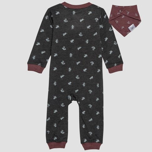 3d259668a161 Baby Harry Potter 2pc Long Sleeve Romper And Bib Set - Gray   Target