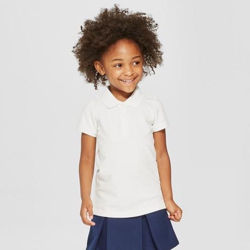 4ba6e935a Toddler Girls' Short Sleeve Pique Polo Shirt - Cat & Jack™ White 5T : Target