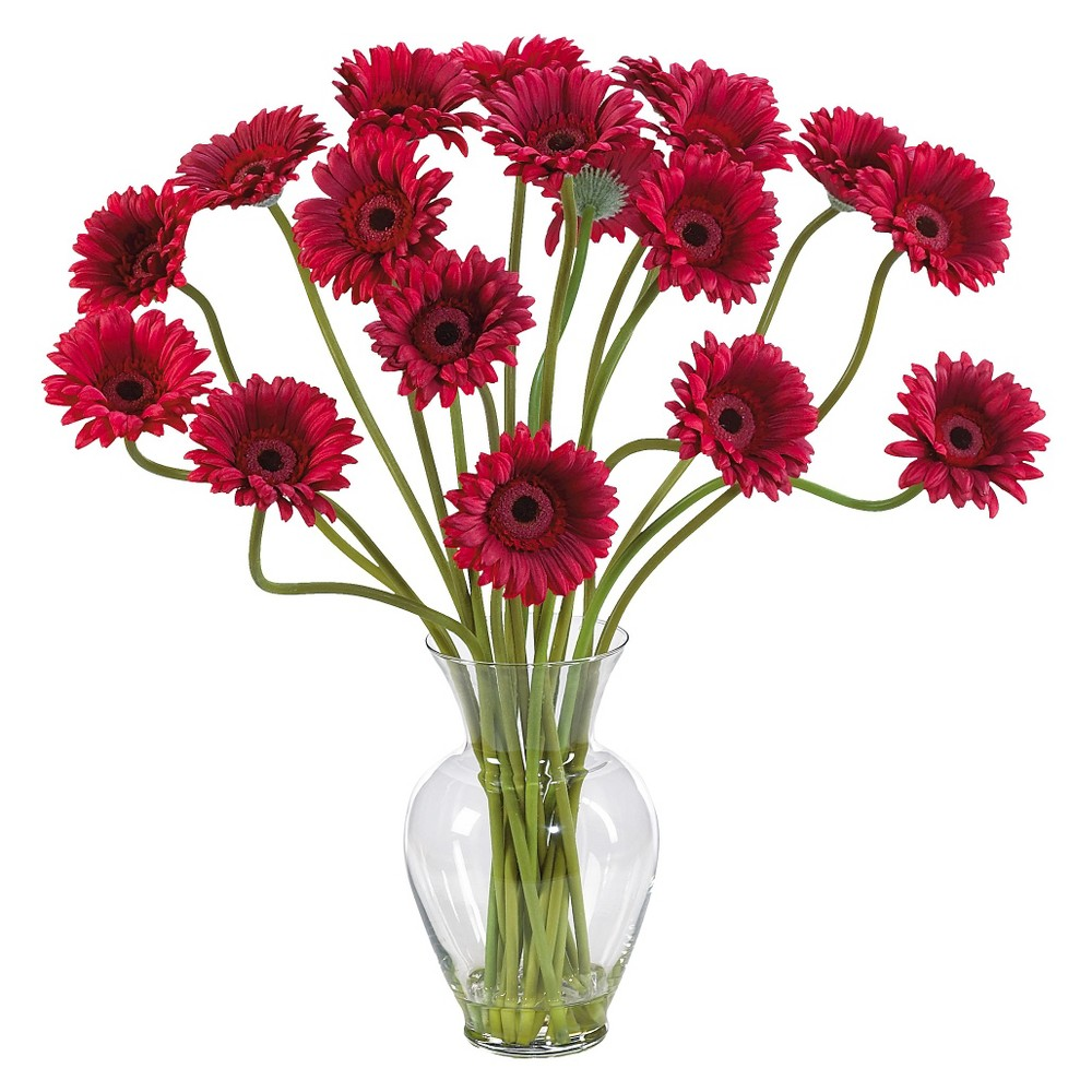 Nearly Natural Gerber Daisy Liquid Illusion Silk Flower Arrangement, Red Take a look at this Gerber Daisy silk arrangement! Fun, excitement, and color only begin to describe its beauty. Standing 21 tall this exciting piece features eighteen stems of Gerber Daisys set in a classic glass vase with artificial water. If you're looking to brighten up your home or office décor, well you've just found a winner. Available in five gorgeous shades: beauty, orange, pink, red, yellow and mixed.