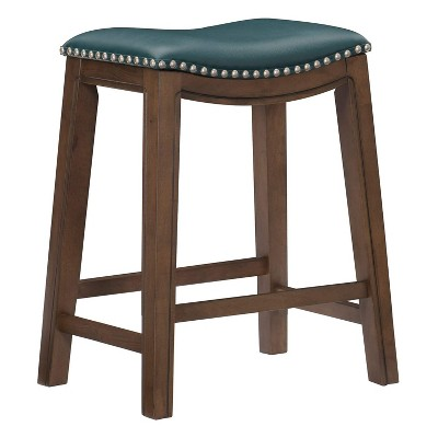 Homelegance 24-Inch Counter Height Wooden Bar Stool with Solid Wood Legs and Faux Leather Saddle Seat Kitchen Barstool Dinning Chair, Green and Gray
