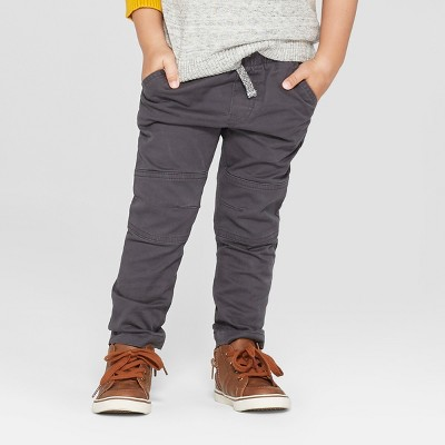 Toddler Boys' Reinforced Knee Straight Fit Pull-On Pants - Cat & Jack™ Charcoal 18M