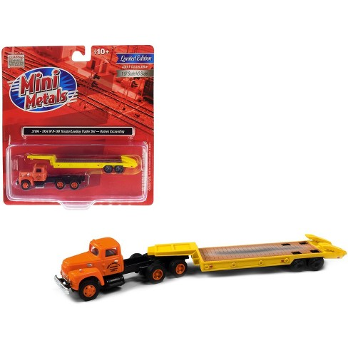 """1954 IH R-190 Tractor Truck w/Lowboy Trailer """"Haines Excavating"""" Orange & Yellow 1/87 (HO) Model by Classic Metal Works - image 1 of 1"""