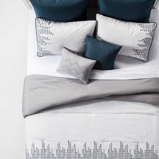 Blue & Gray Laynee Geo Embroidered Comforter Set (Queen) 8pc