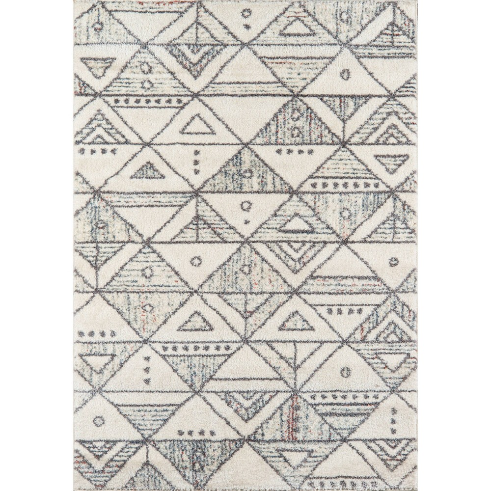 Ivory Geometric Loomed Accent Rug 3'11