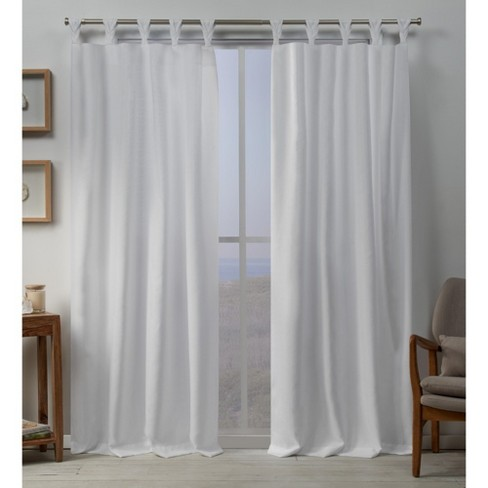 Loha Linen Braided Tab Top Window Curtain Panel Pair - Exclusive Home - image 1 of 4