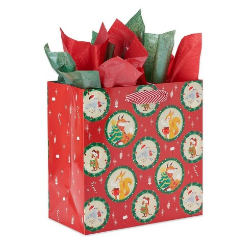 Large Papyrus Christmas Holiday Friends Gift Bag And Tissue Paper Red Green