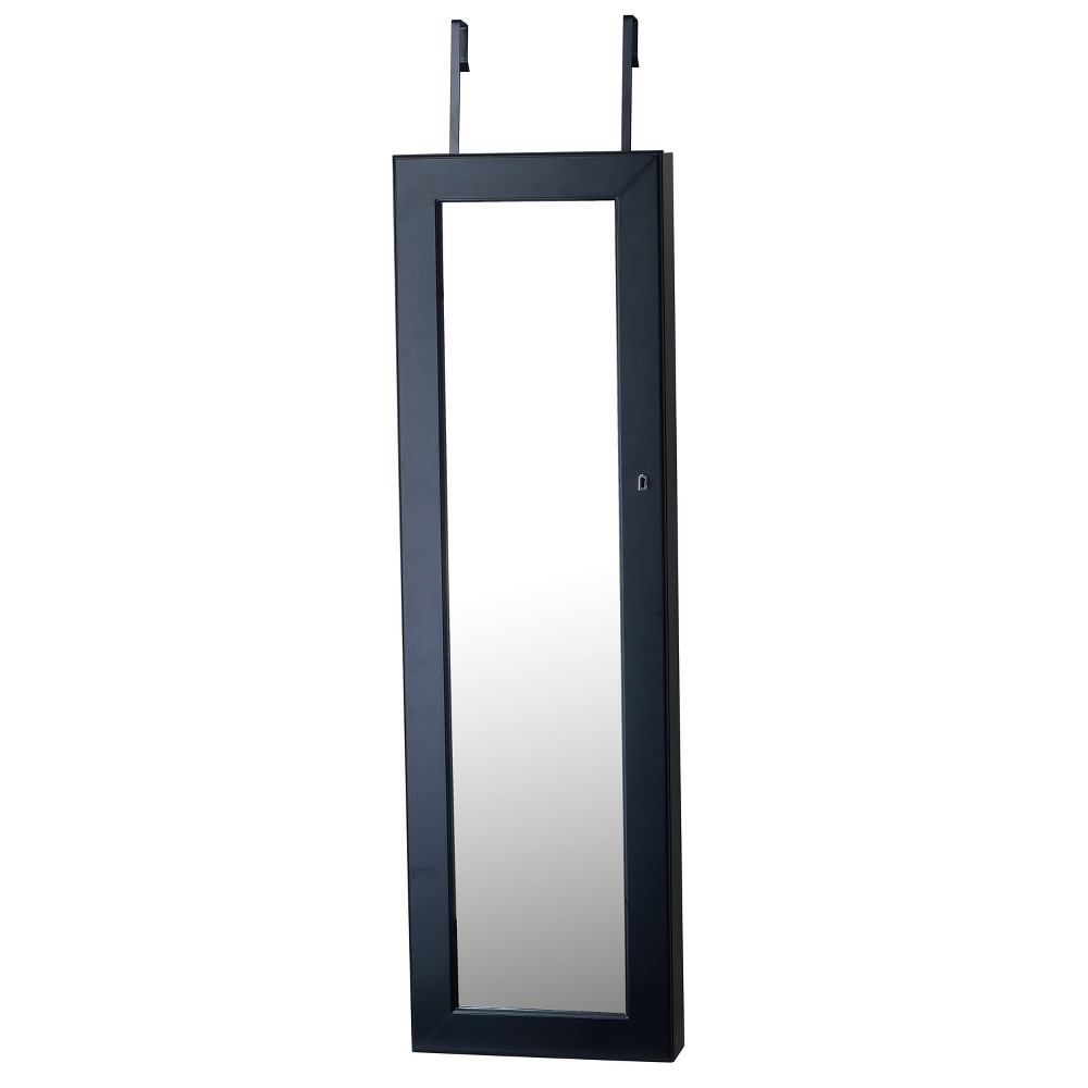 Deluxe Mirrored Jewelry Armoire Black - FirsTime