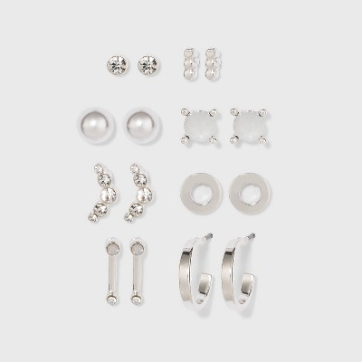 Zinc Stud Earring Set 8pc- A New Day™ Silver