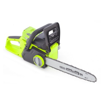 14  40 Volts, 72 Watts Cordless Lithium Chain Saw - Green - Earthwise