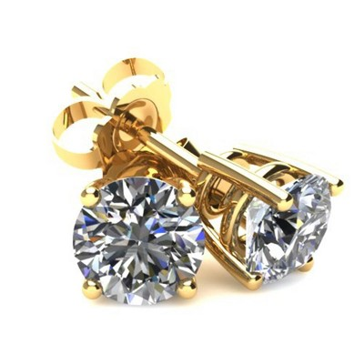 Pompeii3 .25Ct Round Brilliant Cut Natural Diamond Stud Earrings in 14K Gold Basket Setting