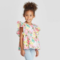 Toddler Girls' Floral Woven Blouse with Shine - Cat & Jack™ Pink