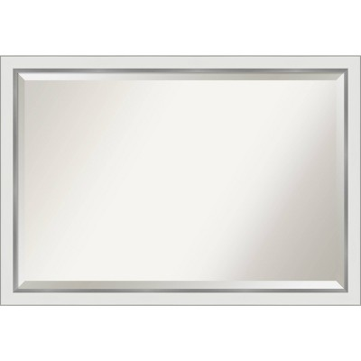 "39""x 27"" Eva White Silver Framed Bathroom Vanity Wall Mirror - Amanti Art"