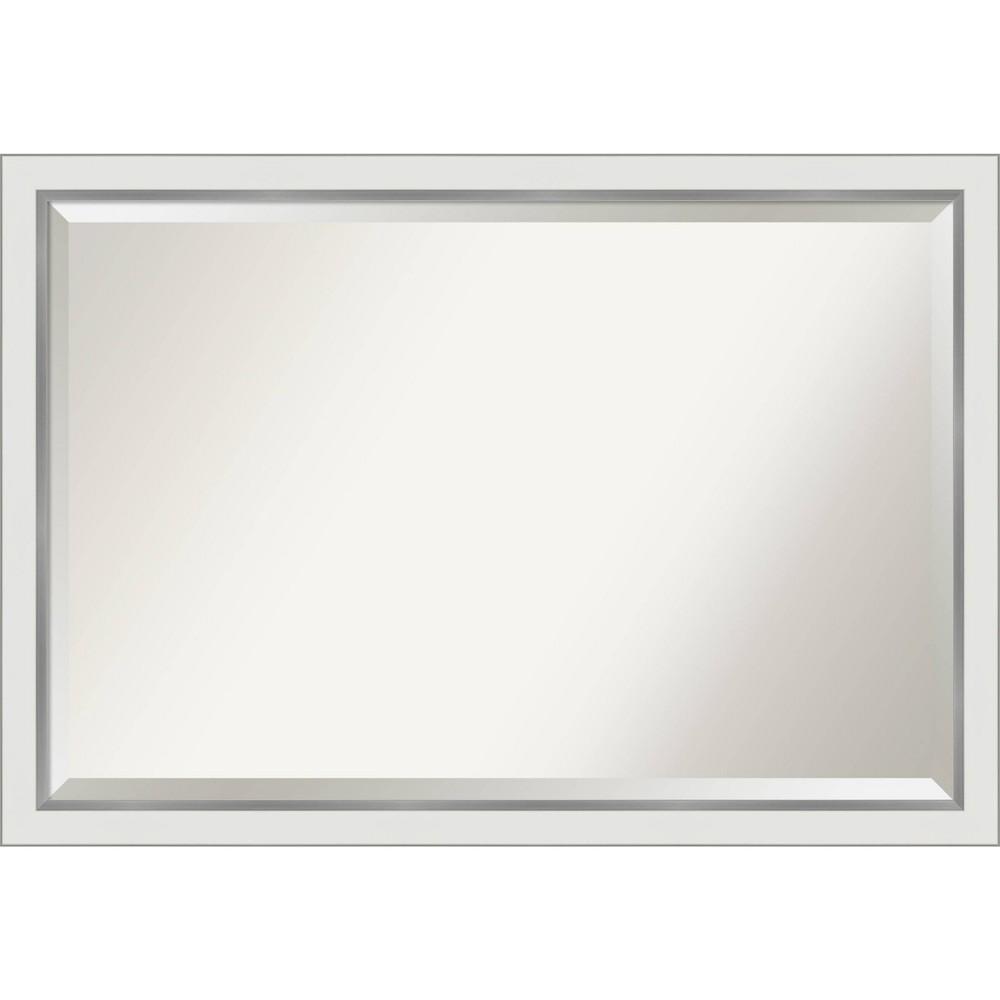 "Image of ""39"""" x 27"""" Eva Narrow Framed Bathroom Vanity Wall Mirror White/Silver - Amanti Art"""
