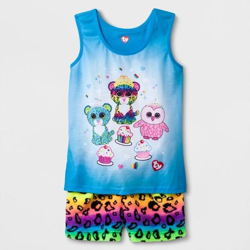 Girls  Beanie Boos Cheetah Print Shorts 2pc Pajama Set   Target fb9e4583064