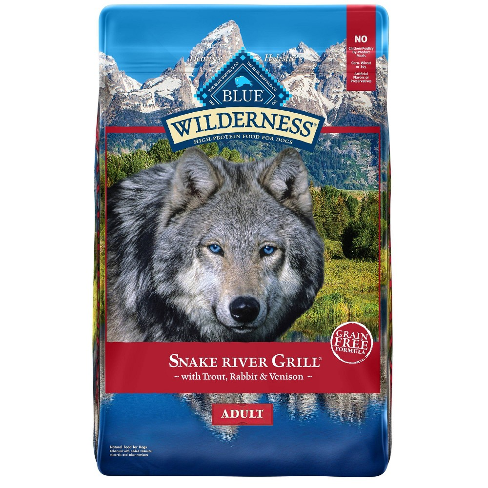 Blue Buffalo Wilderness Grain Free Snake River Grill With Trout Venison And Rabbit Dry Dog Food 22lbs