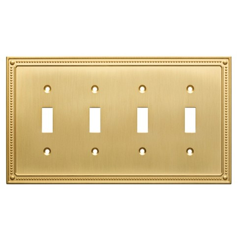 Classic Beaded Quad Switch Wall Plate Brushed Brass - Franklin Brass - image 1 of 3