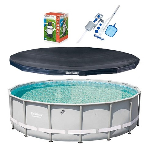 Bestway 16ft x 48in Power Steel Frame Pool, Cover w/ Filter Pump, & Cleaning Kit - image 1 of 4
