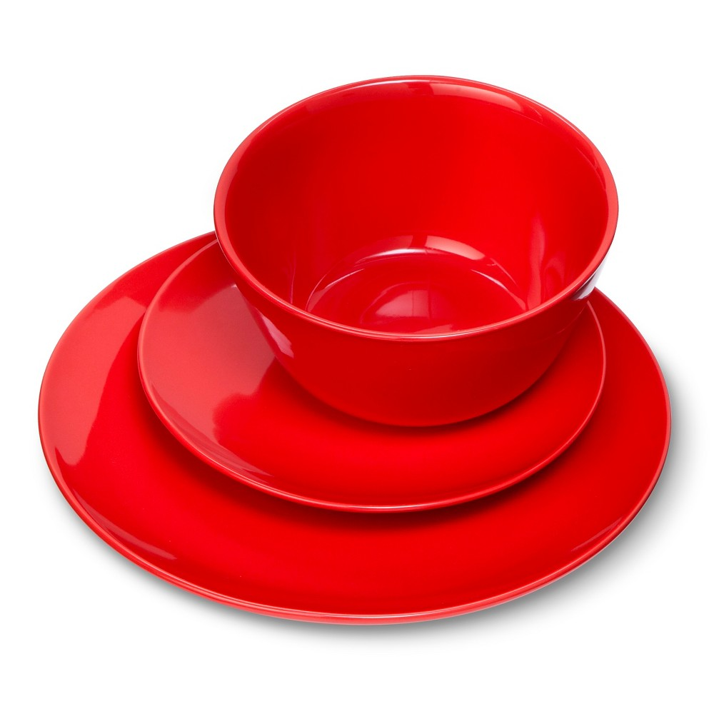 Coupe 12pc Dinnerware Set Red - Room Essentials