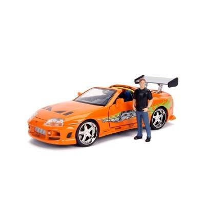 Jada Toys Hollywood Rides Fast & Furious 1995 Toyota Supra Die-Cast Vehicle with Brian Die-Cast Figure 1:24 Scale Metallic Orange