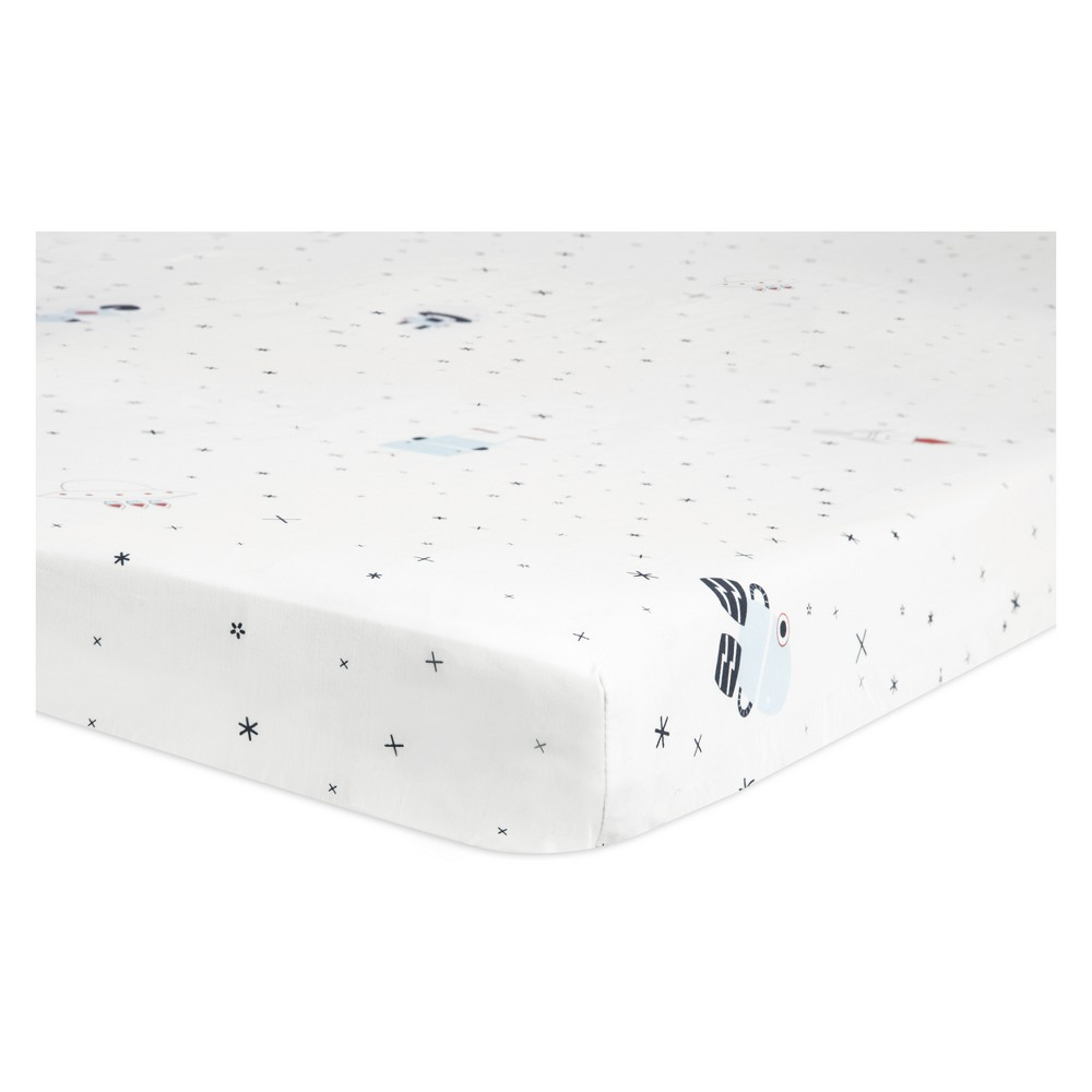Image of Babyletto Mini Fitted Crib Sheet - Galaxy Floating Robots - White