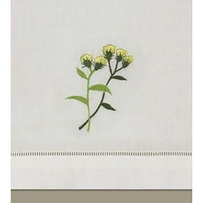 C&F Home Cinnamon Flower White Hemstitch Decorative Guest Towel