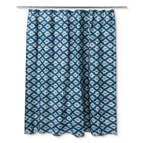 Ikat Textured Shower Curtain Galazy Blue