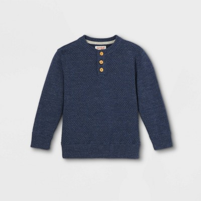 Toddler Boys' Knit Henley Pullover Sweater - Cat & Jack™ Navy Heather