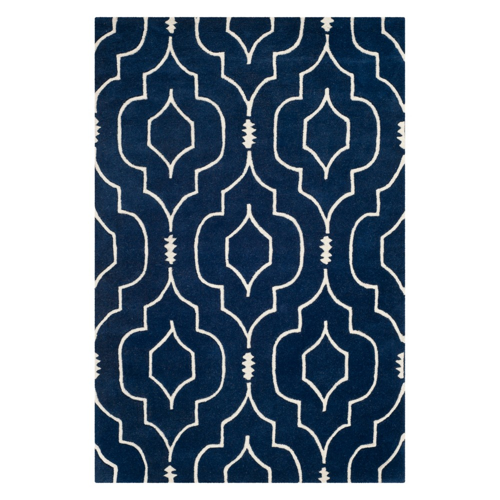 4'X6' Geometric Tufted Area Rug Dark Blue/Ivory - Safavieh