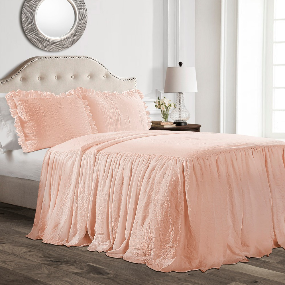 Queen 3pc Ruffle Skirt Bedspread Set Blush - Lush Décor