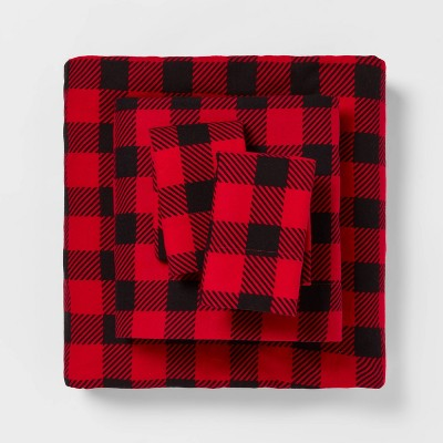 Queen Holiday Patterned Flannel Sheet Set Red Buffalo Check - Wondershop™