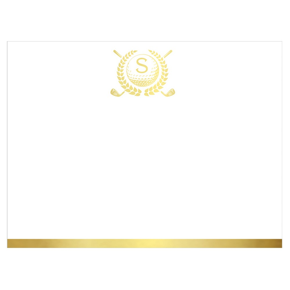 20ct Notecards Single Panel Golf Monogram Gold Foil Stamped Initial - S, White
