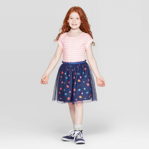 Girls' Space Print Tulle Dress - Cat & Jack™ Navy - image 1 of 3