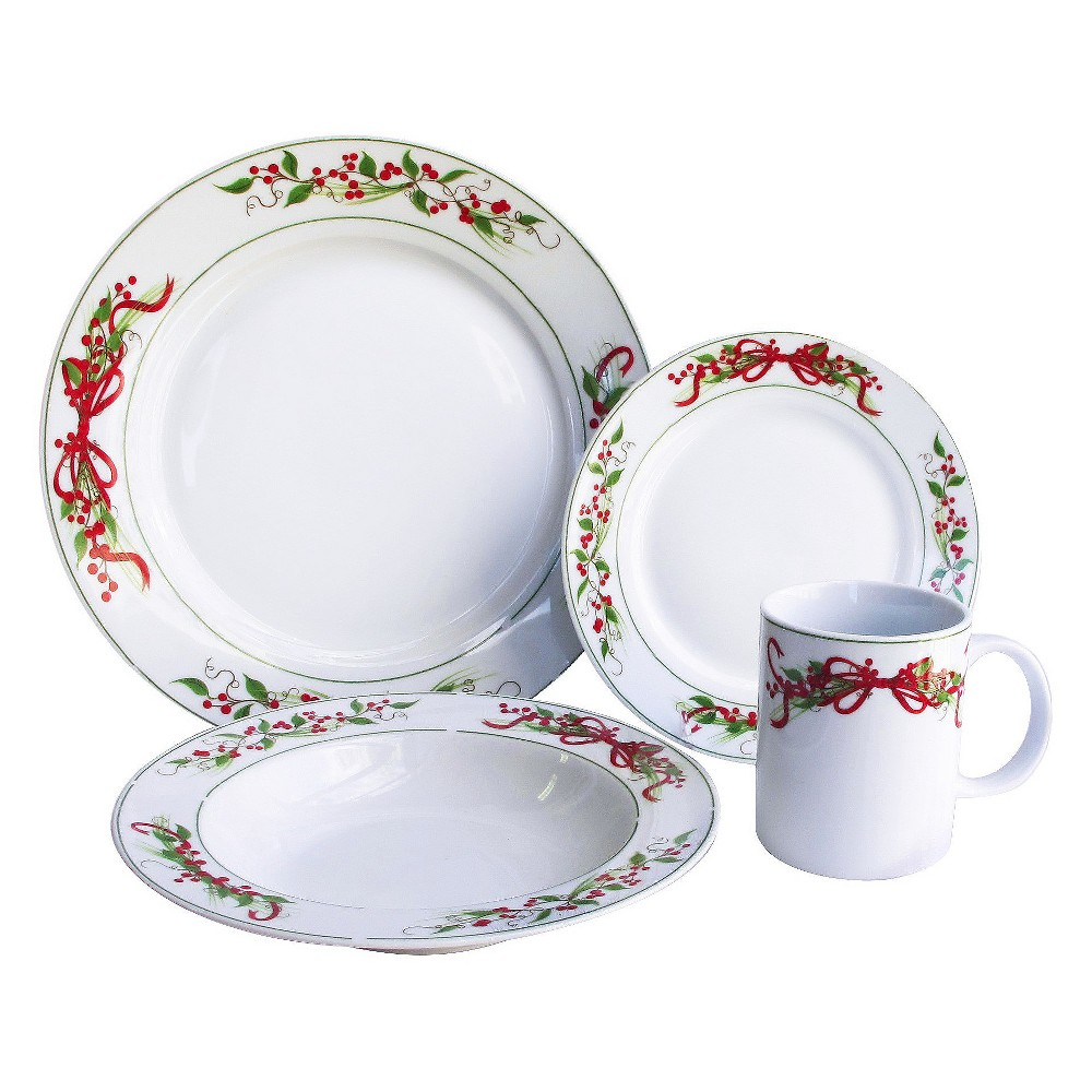 Image of 16pc Stoneware Holly And Berries Dinnerware Set - American Atelier, White
