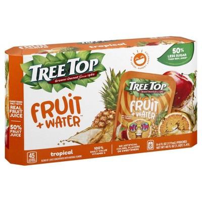 Tree Top Fruit + Water Tropical - 8pk/6 fl oz Pouches