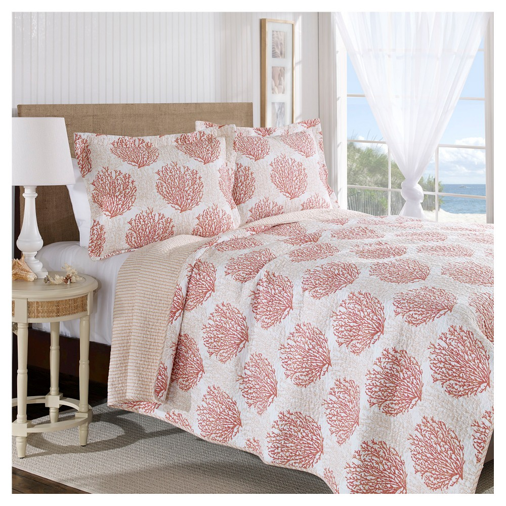 Image of Coral Coast Quilt And Sham Set Full/Queen Coral - Laura Ashley