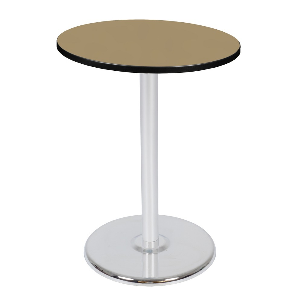 30 Via Cafe High Round Platter Base Table Gold/Chrome (Gold/Grey) - Regency