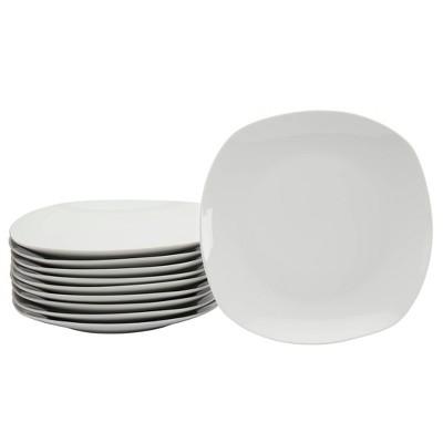 "10.5"" 10pk Porcelain Square Catering Dinner Plates White - Tabletops Gallery"