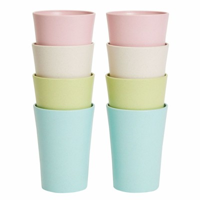 Okuna Outpost Set of 8 Reusable Wheat Straw Cups, Drinking Glasses, Tumblers (4 Colors, 10.6 oz)